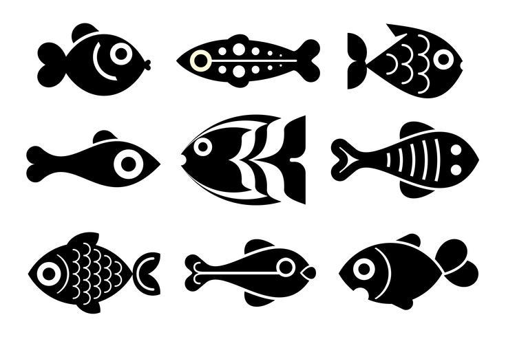 fisk ikonuppsättning