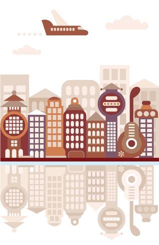 Cityscape met reflectie vectorillustratie