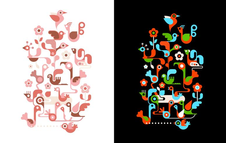 Vogels op de boom vectorillustraties
