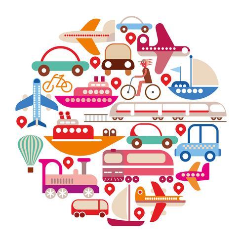 Reise und Transport - runder Vektor