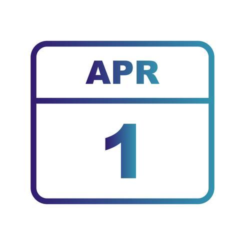 1 de abril Data em um calendário de dia único