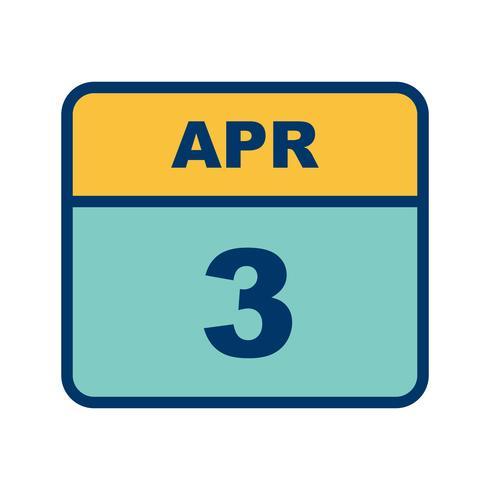 3 de abril Data em um calendário de dia único