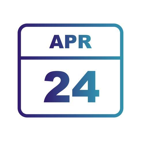 April 24th Date on a Single Day Calendar vector