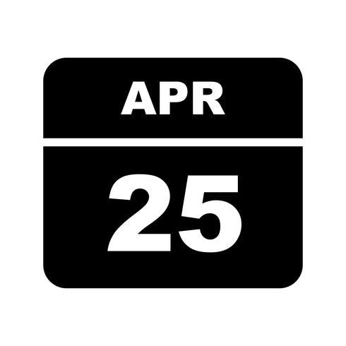 25 aprile Data su un calendario per un solo giorno vettore