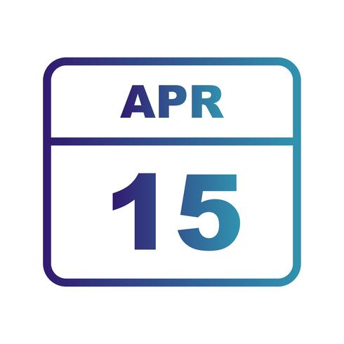 April 15th Date on a Single Day Calendar vector