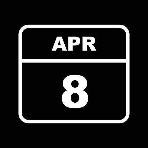 April 8th Date on a Single Day Calendar vector