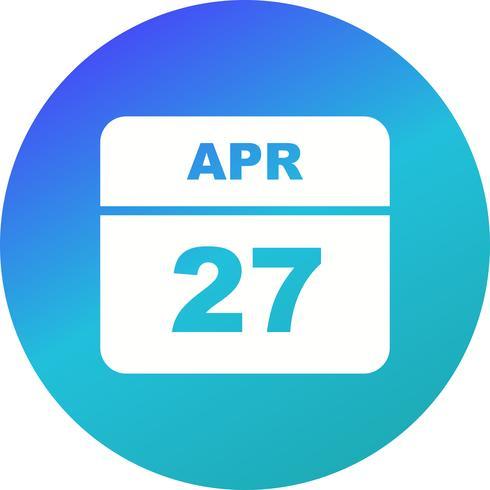 April 27th Date on a Single Day Calendar vector