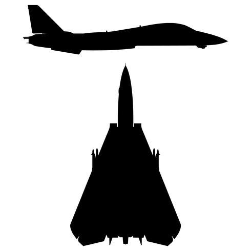 Illustrazione di vettore della siluetta degli aerei dell'aereo da caccia dell'anti-ala da caccia militare