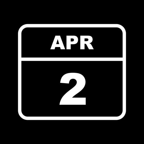 April 2nd Date on a Single Day Calendar vector