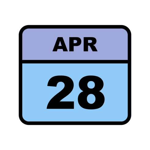 April 28th Date on a Single Day Calendar vector