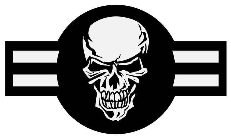 Emblema do avião militar com ilustração em vetor crânio roundel