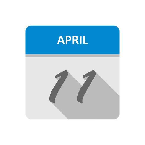 11 aprile Data in un calendario per un solo giorno