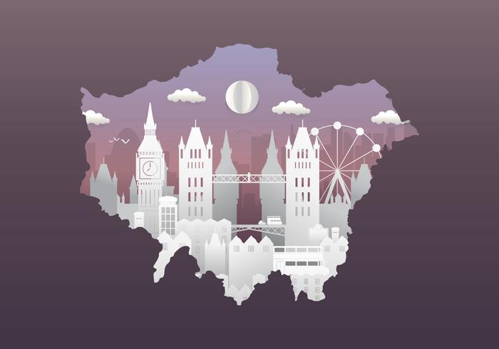 Skyline della città di Londra con famosi edifici in stile Papercut vettore