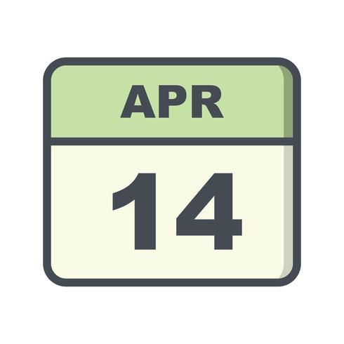 14. April Datum an einem Tageskalender