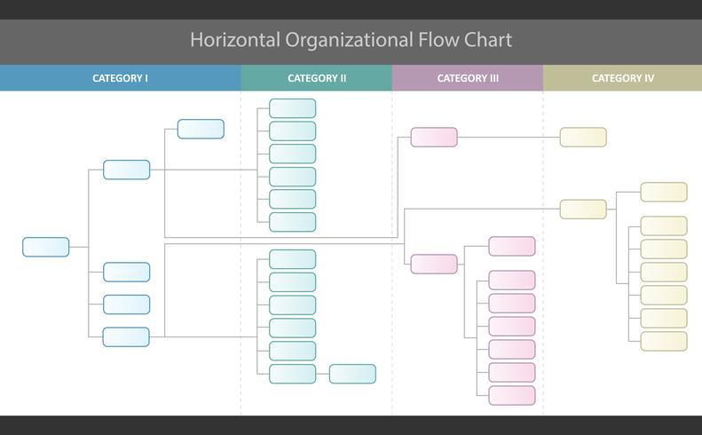 Horizontal Organizational Corporate Flow Chart Vector Graphic