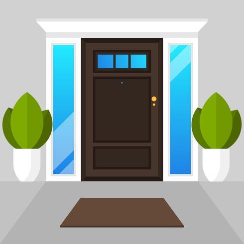 Flat Modern Simple Doors House Vector Illustration