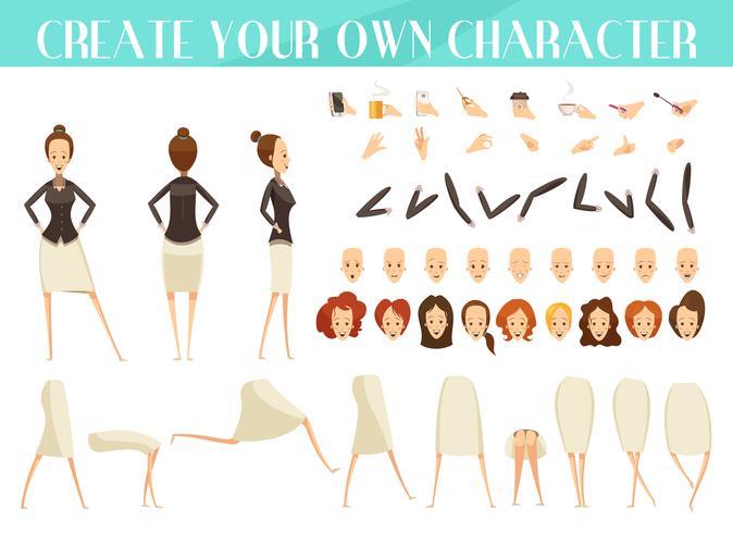 Criação de mulher Cartoon estilo conjunto