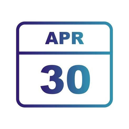 April 30th Date on a Single Day Calendar