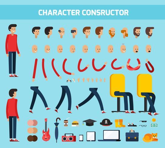 Composição plana de construtor de personagem masculino