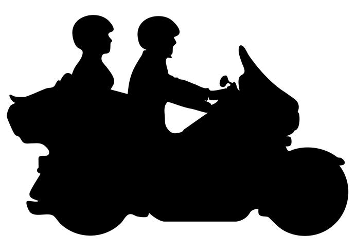 Couple Riding Motorcycle Silhouette Vector Illustration