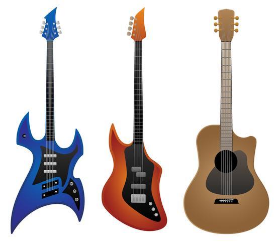 Elektrisk Rockgitarr, Basgitarr och Akustisk Gitarr Vektorillustration