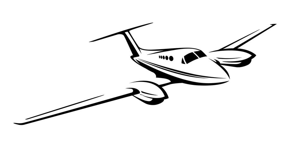 Ilustração em vetor pequeno avião twin motor privado