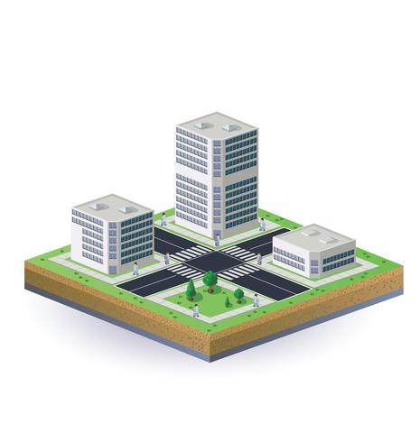 Isometrisk bild av staden