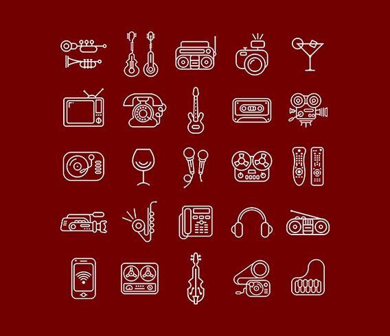 Lijn kunst Vector Icon Set