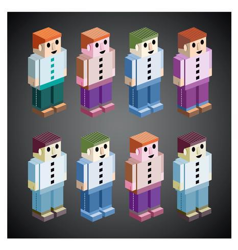 Personas en diferentes colores.
