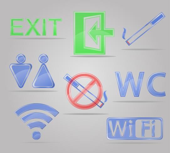 set icons transparent signs for public places vector illustration