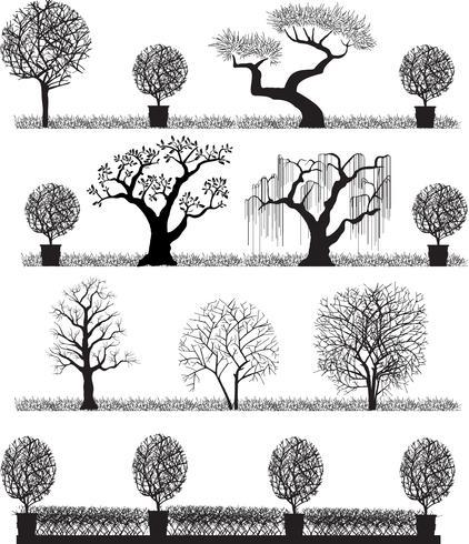 Silhouette di alberi vettore