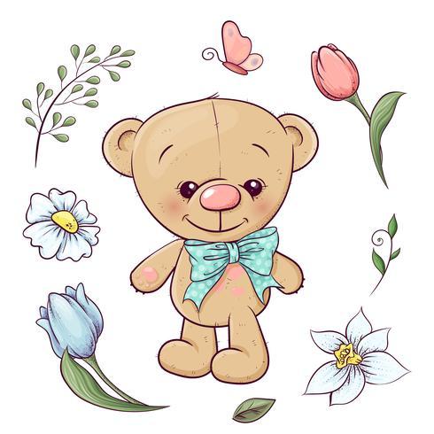 Conjunto De Ursinho De Pelucia E Flores Desenho A Mao Ilustracao