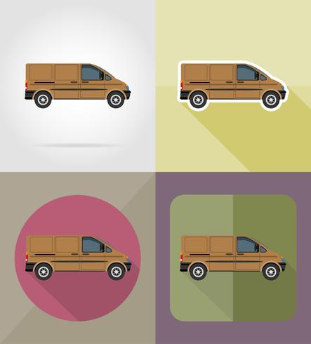 Ikonen-Vektorillustration des Minibusses flache