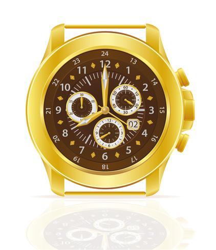 Ilustración de vector de reloj de pulsera mecánico oro