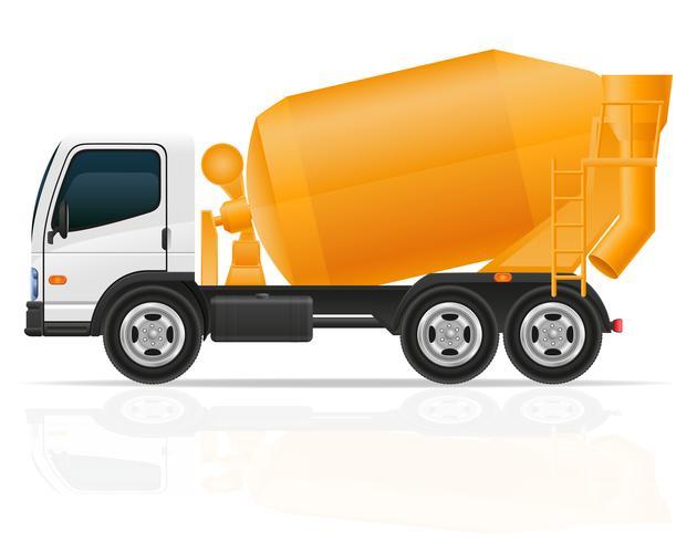 hormigonera de camión para la ilustración de vector de construcción