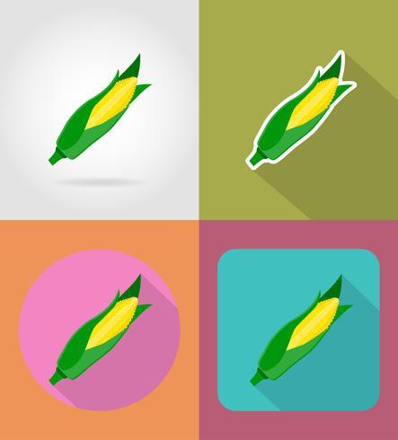 maïs plantaardige plat pictogrammen met de schaduw vectorillustratie