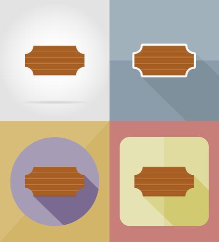 ilustração em vetor ícones plana placa de madeira