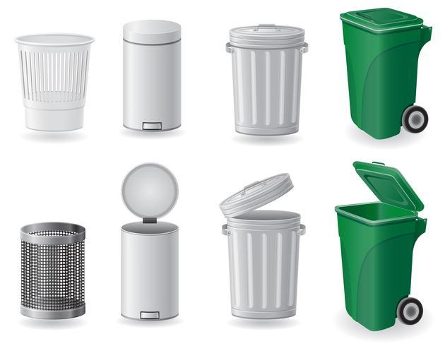 Bote de basura y cubo de basura set iconos vector illustration