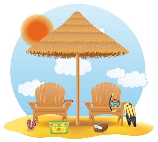 Strand Sessel Liegestuhl Liegestuhl aus Holz und Regenschirm aus Stroh und Schilf-Vektor-Illustration