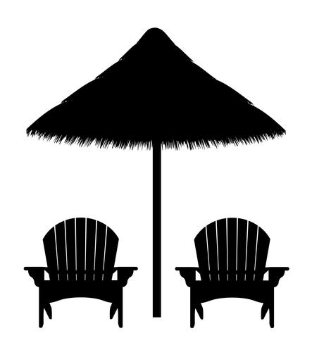beach armchair and umbrella black contour silhouette vector illustration