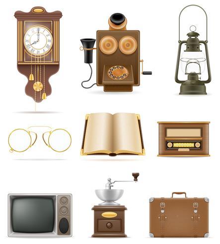set di molti oggetti retrò vecchio vintage icone vettoriali stock illustrazione