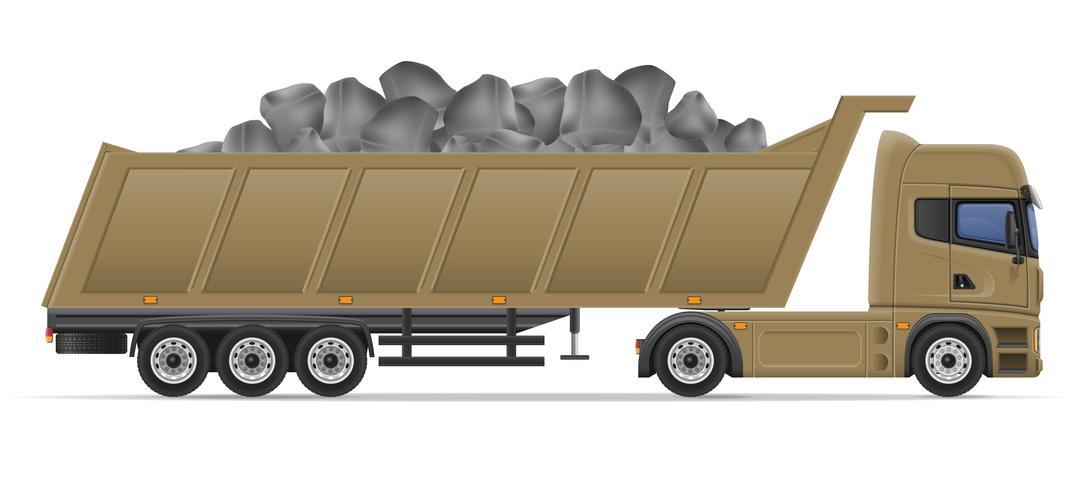 Camión semi remolque entrega y transporte de materiales de construcción concepto vector ilustración