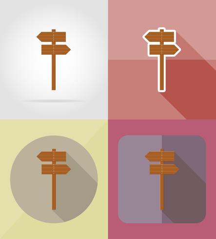 Ikonen-Vektorillustration des hölzernen Brettes flache