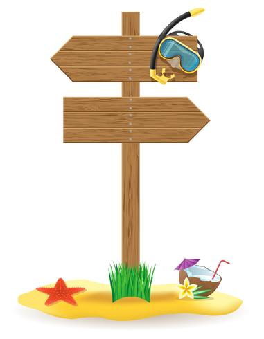ilustração em vetor ícones de placa e praia ponteiro de madeira