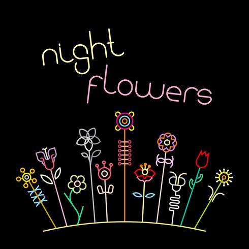 Illustration vectorielle de nuit fleurs