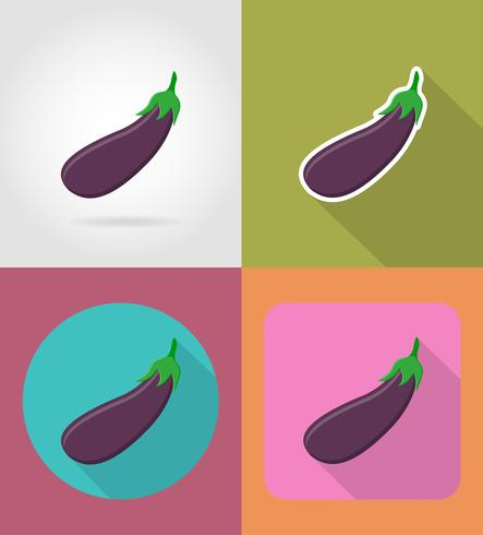 aubergine plantaardige plat pictogrammen met de schaduw vectorillustratie