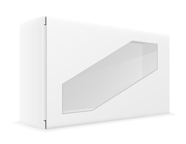 Witboek kartonnen doos verpakking vectorillustratie