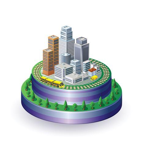 Stad op een ronde basis