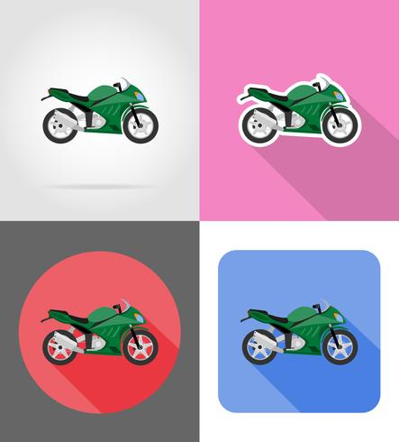 Iconos planos de motocicleta vector illustration