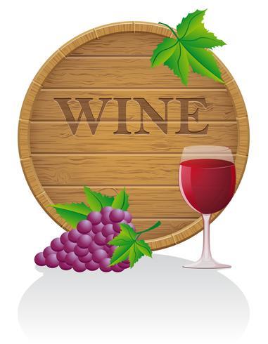 Ilustración de vector de madera barril de vino y vidrio EPS10